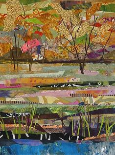 The children could cut the fabric and glue it. Adult could stitch over the top to secure. #LandscapeCollage