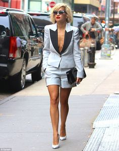 Rita Ora Misses Shirt In Matching Blazer And Short Look