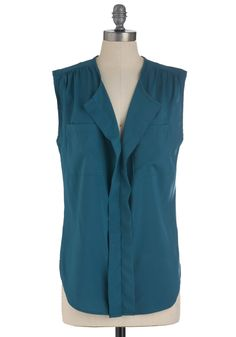 Chapter and Versatile Top in Teal - Mid-length, Blue, Solid, Pockets, Sleeveless, Casual