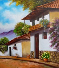 (notitle) – Seval TÜRKKAN – Join the world of pin Mexican Artwork, Mexican Paintings, Landscape Artwork, Landscape Pictures, Minimalist Landscape, Pictures To Paint, Beautiful Paintings, Architecture Art, Watercolor Paintings