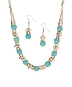 turquoise & silvertone bead necklace & earrings by Zulily - 1/18/16: SORRY, but I can't see to click through to Zulily from this pin to check on availability. Not sure if it's a Pinterest glitch or what. I'll try to remember to check again another day.