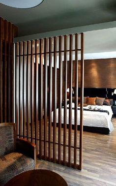 Wood Room Divider, Living Room Divider, Living Room Partition Design, Room Partition Designs, Living Room Decor, Wood Partition, Room Divider Bookcase, Home Interior Design, Interior Architecture