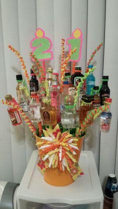 21st birthday liquor bouquet Liquor Bouquet, Candy Bouquet, 21st Birthday, Girl Birthday, Birthday Gifts, Alcohol Basket, Liquor Gift Baskets, 21st Bday Ideas, Chocolate Bouquet