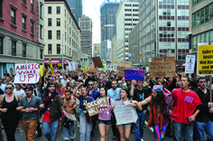 Protesters from the Occupy Wall Street movement are corralled and arrested by police on the Brooklyn Bridge in New York.