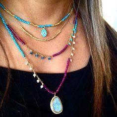 Summer stacks ✨✨ #layering #necklaces #gold #turquoise #diamonds #dimajewellery…