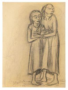 Muchachas asustadas. Carboncillo. 1922. 50,8 x 37,4 cm. Artista: Ernst Barlach.