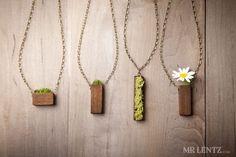 Eco Friendly Moss & Grass bijoux en bijoux en bois Avec le bois anneaux collier Moss bijoux herbe écologique