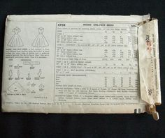 Vintage Sewing Pattern Simplicity 4704 shelf bust Dress  (back of envelope)