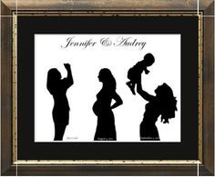 Personalized Pregnancy (before/during/after) Silhouette from your photos