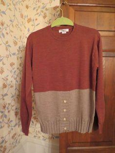 Loiz Cashmere Sweater 100% Cashwool M Color block Crewneck Brown Tan Button Down #Loiz #Sweater