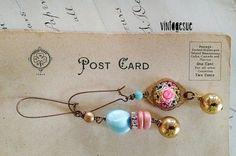 delightful danglesrepurposed jewelry shabby earrings by Arey