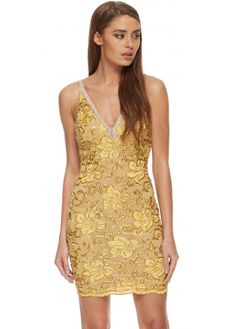 Baccio Zara Dress Sleeveless Crystal & Gold Painted Lace With Crystal Straps