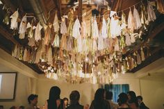 Hard to imagine a more chic wedding! From the brides dress to the bridal party, and right down to the fringed ceiling at the reception, its perfection! From the bride: The most difficult part in planning … Continue reading → Party Ceiling Decorations, Centerpiece Decorations, Balloon Decorations, Reception Decorations, Event Decor, Chic Wedding, Wedding Blog, Wedding Ideas, Wedding Themes