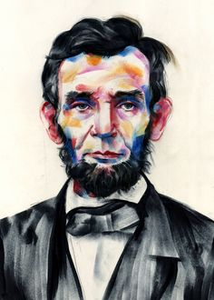 Artist Tom DesLongchamp uses markers and ink to add beautiful and bright colors to his simple portraits.
