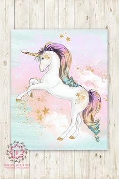 Boho Pink Rainbow Gold Stars Unicorn Wall Art Print Baby Girl Pink Gold Nursery Fantasy Watercolor Poster Room Printable Decor
