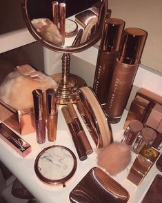 Tumblr is a place to express yourself, discover yourself, and bond over the stuff you love. It's where your interests connect you with your people. Makeup Kit, Skin Makeup, Makeup Inspo, Gold Aesthetic, Aesthetic Makeup, Makeup Items, Makeup Brands, Cute Makeup, Makeup Looks