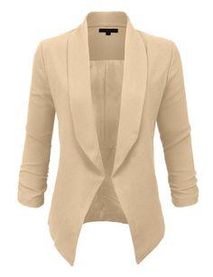 LE3NO Womens Textured 3 4 Sleeve Open Blazer Jacket Beiger Blazer, Blazer  Outfits, 0765db3f876