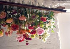 hanging floral chandelier - diy with real flowers, floral water tubes with rubber caps and decorative sheet metal frame