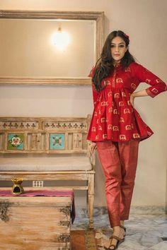 Dhoti Pants and Peplum Top Idea :- Wanderlust Fashion Pakistani Fashion Casual, Pakistani Dresses Casual, Indian Fashion Dresses, Dress Indian Style, Indian Designer Outfits, Stylish Dresses For Girls, Stylish Dress Designs, Designs For Dresses, Simple Kurti Designs