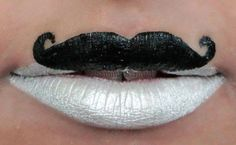Novelty Black & White Moustache Lips
