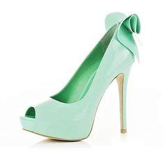Fancy - Light Green Peep Toe Bow Shoes on LoLoBu