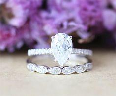 Solid 14K White Gold Moissanite Engagement Ring Charles &