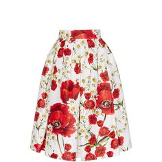 Dolce & Gabbana Silk Cotton Floral Printed Skirt (23,090 MXN) ❤ liked on Polyvore featuring skirts, flower print skirt, silk skirt, cotton a line skirt, floral print skirt and white skirt