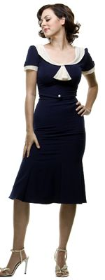 Stop Staring! Mad Men Black Pleated Bodice Cap Sleeve Wiggle Dress $154.00