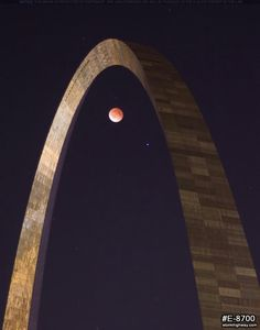 Lunar eclipse through the Arch (STL Pin of the Day, 4/23/2014).