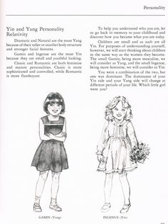 """Gamine and Ingenue (page from """"Your New Image Through Color & Line"""" by Gerrie Picnkney and Marge Swenson)"""