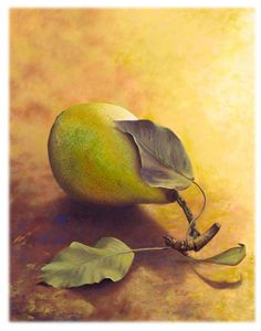 Golden Pear | A painting by Camille Engel, contemporary realist