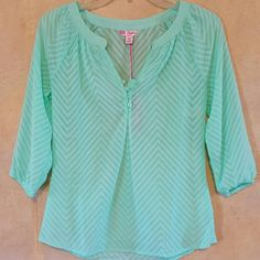 Mint Sheer Blouse! FINAL PRICE DROP!! Brand new blouse with buttons on the front collar Candie's Tops Blouses