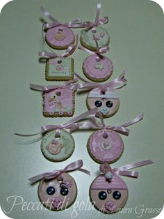 Birth cookies to hang on Christmas tree... It's a girl!