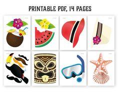 Hawaiian photo booth props: printable PDF. Luau by HatAcrobat