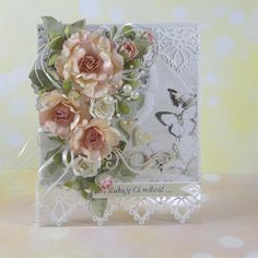 Kartkowy Świat Gosi, Card with flowers, pearls, ribbon, lace die Pretty Cards, Cute Cards, Easy Cards, Card Making Inspiration, Making Ideas, Flower Cards, Paper Flowers, Spinner Card, Shabby Chic Cards