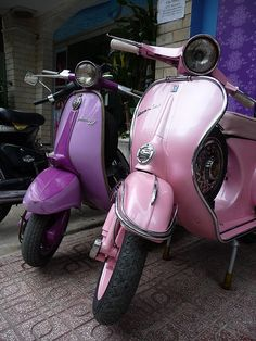 Vintage Vespa and Lambretta scooters in fab shades