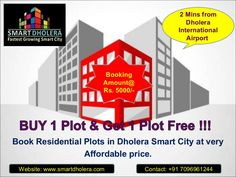 Book Residential plots in Dholera Smart City at very affordable price, Near Dholera International Airport.  Special Offers !!!  Booking Amount Rs.5000/- Only. Zero Down Payment Plan. EMI options available for 24 months, 36 months and 48 months.  Project Location:  1 Kilometre from Metro Rail (Proposed) 2.5 Kilometres from State Highway 6 2 minutes from International Airport Zone.