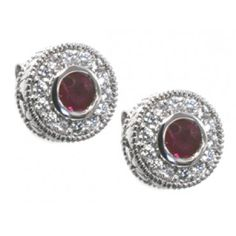 #Diamond and #ruby #earrings with 28 round diamonds 0.28ct tdw and 2 3mm round rubies set in 14k white gold | www.hannoush.com