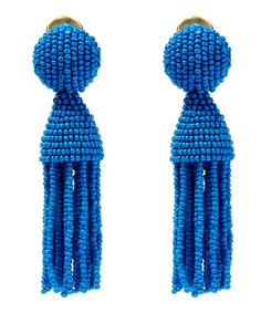 Oscar de la Renta Blue Short Beaded Tassel Clip-On Earrings