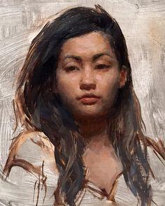 """Jusine"" - Patrick Byrnes, oil on panel {figurative #impressionist art beautiful female head woman face portrait cropped texture painting #loveart} patrickbyrnespaintings.com"