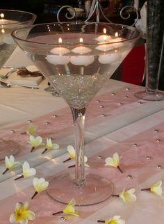 1000 images about centros de mesa con velas chicos on - Copas decoradas con velas ...