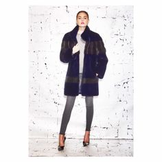 Norman Ambrose Navy & Grey Dyed Mink Fur Coat