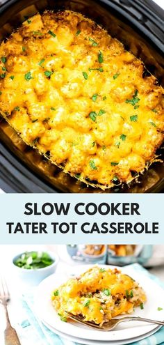 This easy Slow Cooker Tater Tot Casserole is a must-make! Crispy tater tots, layered between ground beef, and smothered in cheese. Yum - a delicious casserole recipe! An easy weeknight meal! crockpot meals with ground beef Tater Tot Recipes, Breakfast Crockpot Recipes, Casserole Recipes, Dinner Recipes, Bread Recipes, Tater Tots, Tater Tot Casserole, Bean Casserole, Ground Beef Crockpot Recipes