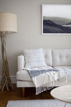 Driftwood Lamp + light gray sofa | Coveted Home