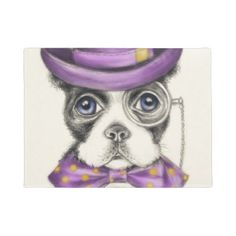 #Purple Boston Terrier Doormat - #doormats #home & #living