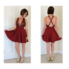 """burgundy skater dress. Large  Wine sequin accent skater dress  large Sequin bust and straps Zipper on lower back of skater style skirting  EXCELLENT quality  Small bust 32-34 waist 26-28 Medium bust 34-36 waist 28-30 Large bust 36-38 waist 30-32  Length from top of shoulder down 34""""  NWT  76% polyester/19% rayon/5 % spandex Contrast and lining are 100% polyester Boutique Dresses Prom"""