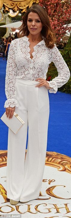 Angelic: Chloe Lewis looked lovely in lace...