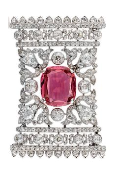 Belle Epoque Spinel and Diamond Brooch centring upon a cushion-shaped spinel in an openwork foliate surround set w old-mine diamonds, c 1910 Gems Jewelry, Bridal Jewelry, Diamond Jewelry, Jewelery, Or Antique, Antique Jewelry, Vintage Jewelry, Vintage Brooches, Unusual Jewelry