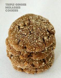 Triple Ginger Molasses Soft Cookies. 100% Spelt. Vegan Recipe