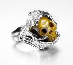 Gemstone Size 9 Gold Tiger Eye Carved Crystal Skull with sterling silver Bones Ring